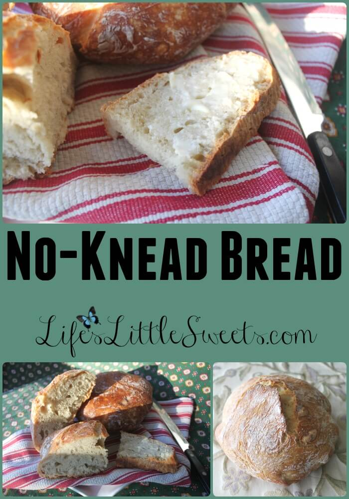 No-Knead Bread: Fresh baked bread is a far superior experience compared to commercially produced bread with all those additives and preservatives. This recipe requires only four ingredients (flour, yeast, salt and water – how pure is that?), a little handling of the dough and with minimal effort, the result is fresh bread – you baked yourself! #lifeslittlesweets #bread #noknead #dutchoven #yeast