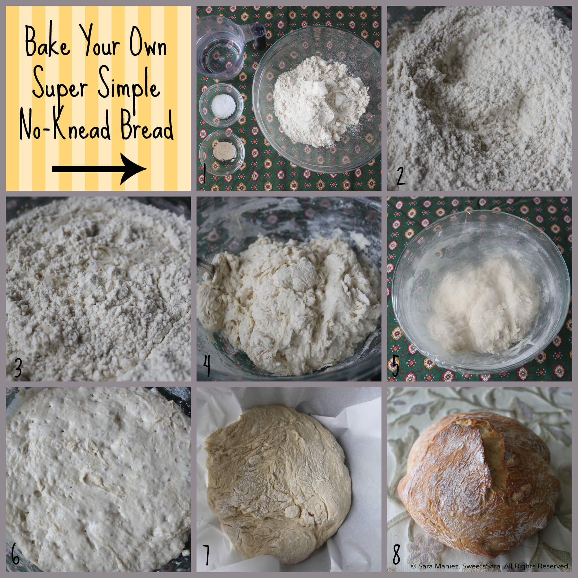 Fresh baked bread is a far superior experience compared to commercially produced bread with all those additives and preservatives. This recipe requires only four ingredients (flour, yeast, salt and water – how pure is that?), a little handling of the dough and with minimal effort, the result is fresh bread – you baked yourself! #lifeslittlesweets #bread #noknead #dutchoven #yeast