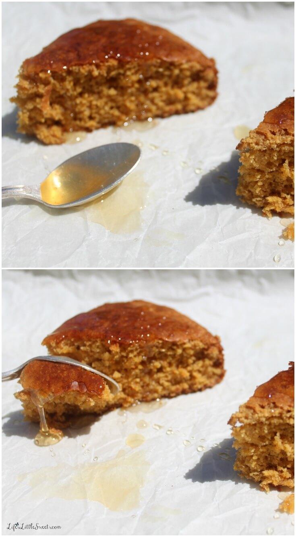 This sweet cornbread recipe utilizes Non-GMO ingredients, including Non-GMO corn meal, coconut oil and coconut sugar drizzled with local honey. #nongmo #cornbread #lifeslittlesweets #honey #local #nongmoproject @Non-GMO Project #recipe
