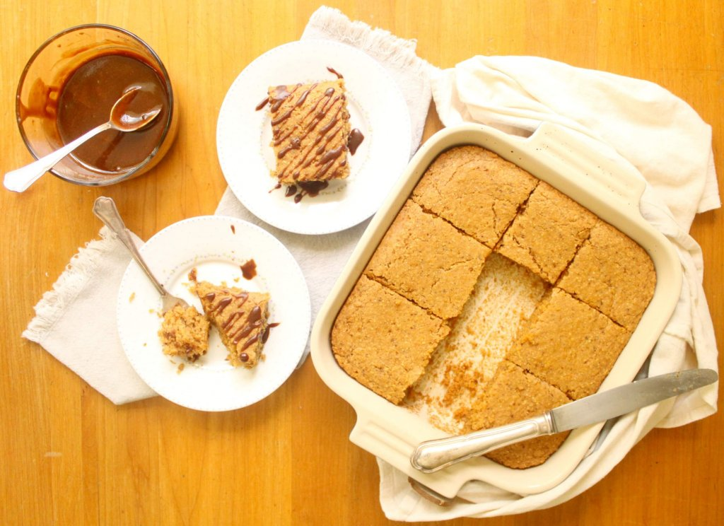 naturally sweet cornbread with coconut caramel sauce