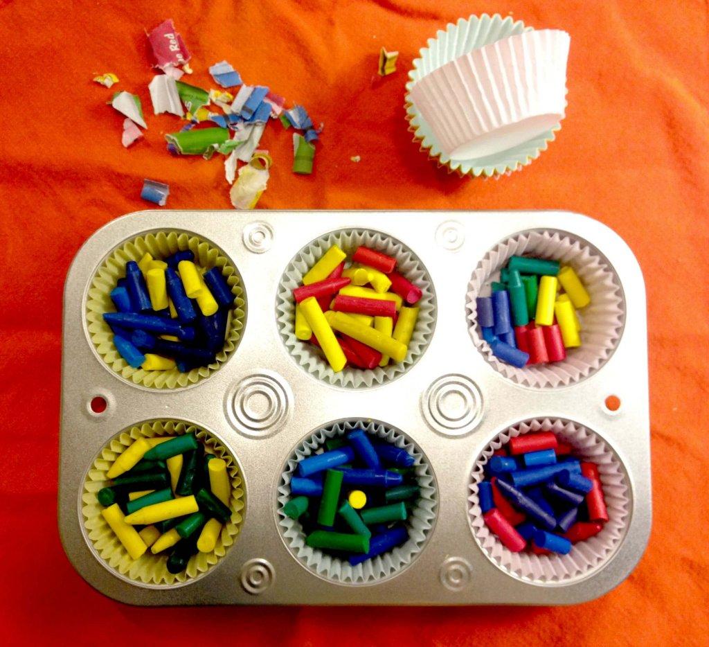 prepare broken crayons