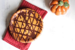 Pumpkin Cheesecake with Bourbon Chocolate Sauce a nerd cooks