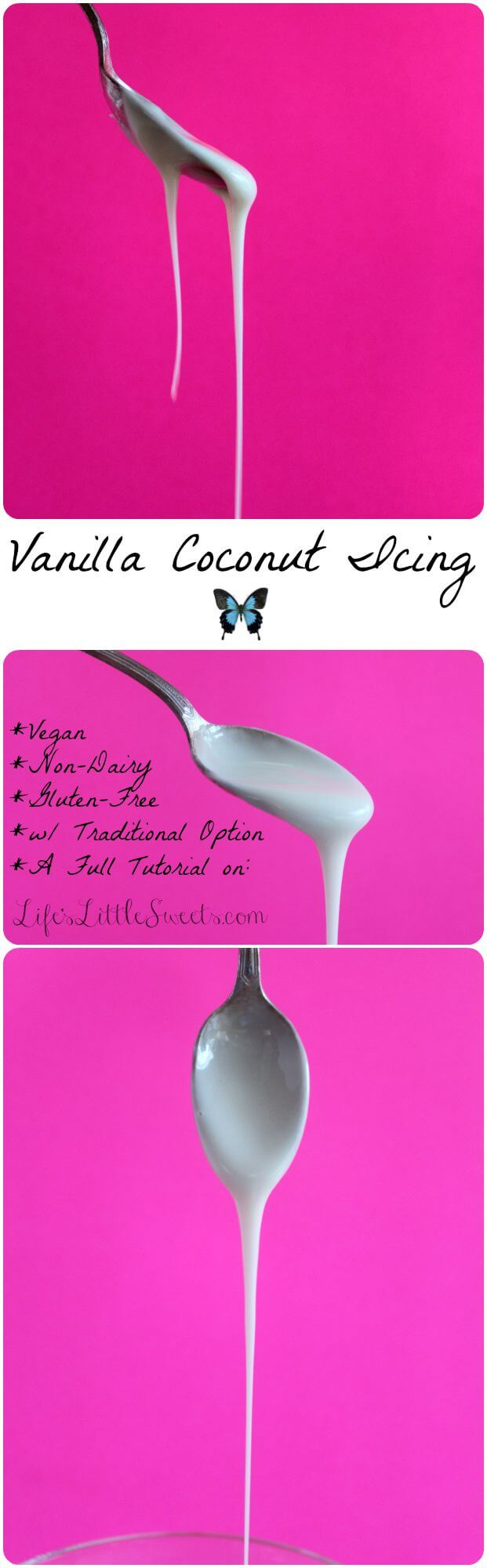 Vanilla Coconut Icing is a vegan and gluten-free icing that can be enjoyed on muffins, scones, quick breads, cakes or any number of dessert recipes.
