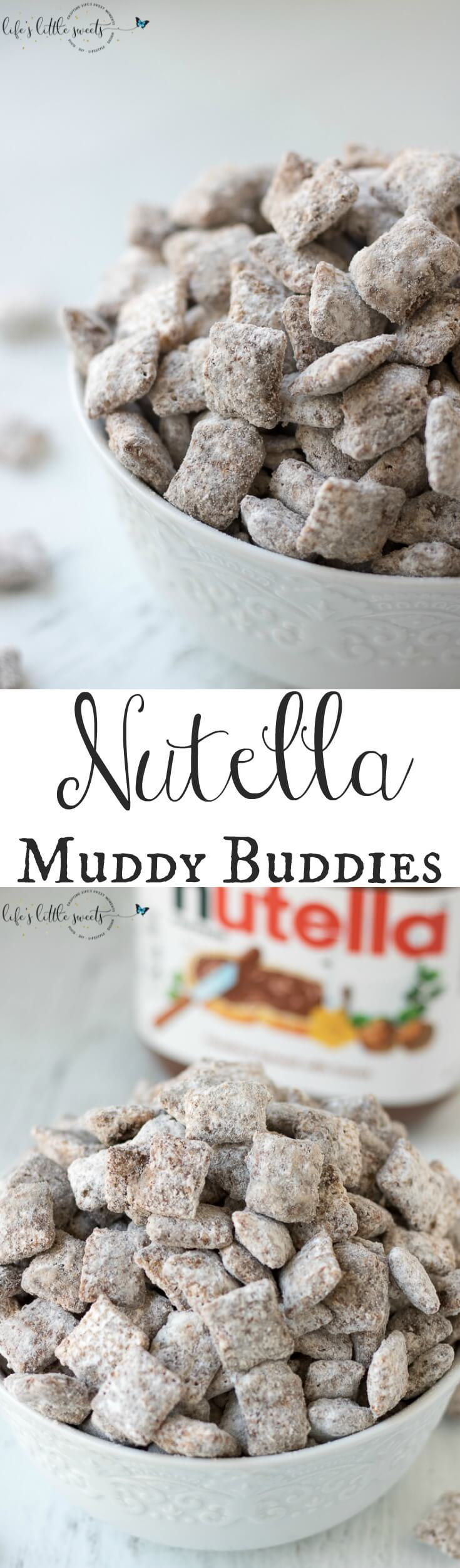 Nutella Muddy Buddies are quick to prepare, addicting to eat and feeds a crowd.  Make this delicious twist on a classic party food for your next gathering or yourself! #nutella #sweet #chocolate #snack #dessert #ricecereal #recipe