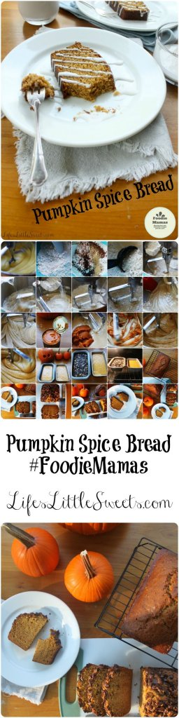 This Pumpkin Spice Bread yields 2 generous loaves and can be customized with your favorite toppings and Vanilla Coconut Icing! Bring this favorite to your next holiday gathering! Be sure to check out the other #FoodieMamas pumpkin recipes!