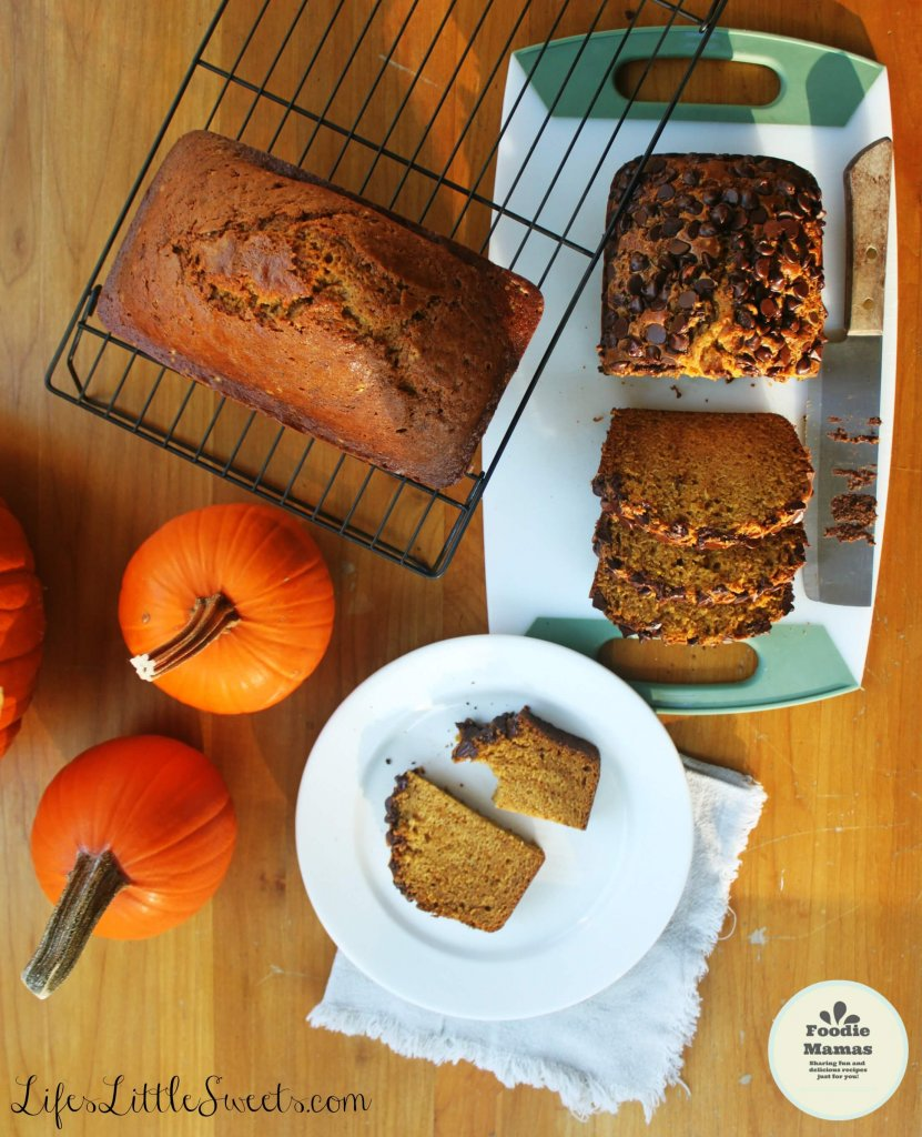 This Pumpkin Spice Bread yields 2 generous loaves and can be customized with your favorite toppings and Vanilla Coconut Icing! Bring this favorite to your next holiday gathering! Be sure to check out the other #FoodieMamas pumpkin recipes in the post! #pumpkin #bread #pumpkinspice