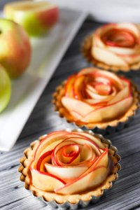 Apple Tartlets topped with Delicious Spiked Salted Caramel Sauce