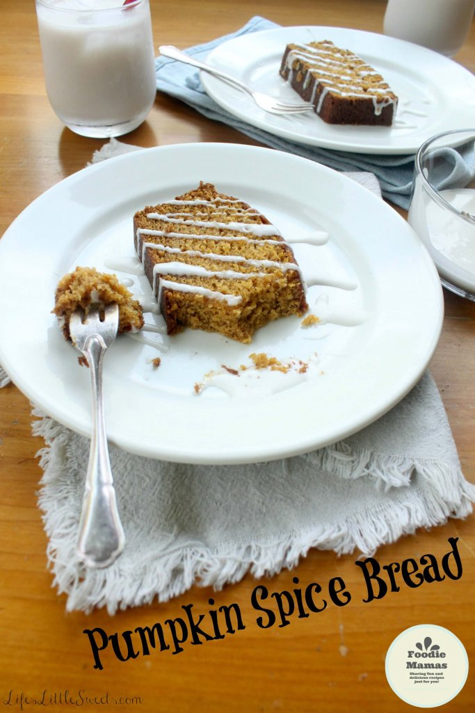 This Pumpkin Spice Bread yields 2 generous loaves (32 slices) and can be customized with your favorite toppings and Vanilla Coconut Icing! You can also use a coconut sugar as a natural sweetener option in a 1 to 1 ratio. Bring this favorite to your next gathering! #FoodieMamas