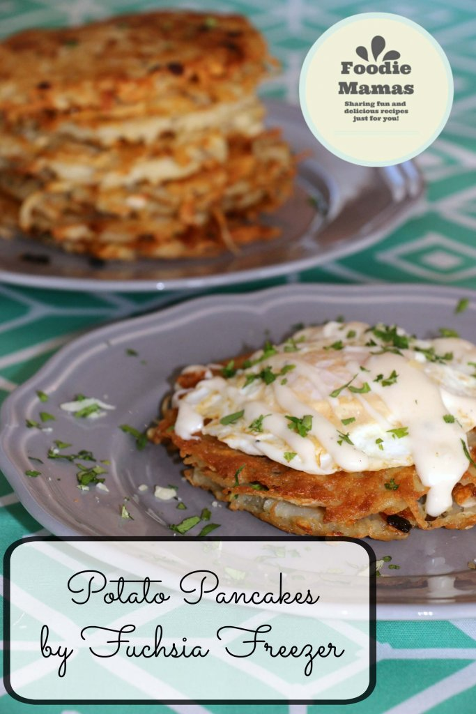 Potato Pancakes with Eggs and Mornay Sauce from Kaitie at Fuchsia Freezer #FoodieMamas