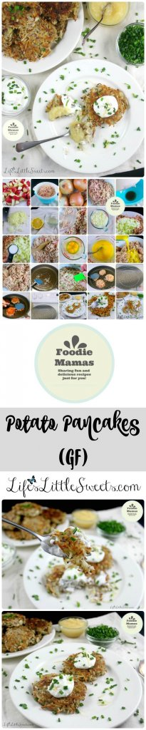 This simple Potato Pancake recipe is gluten-free with only 4 ingredients - red potatoes, onions, eggs and salt. It makes a large batch, using a 5-lb bag of potatoes which is great for feeding a crowd. #FoodieMamas #lifeslittlesweets #potatopancakes #potato #glutenfree #gf