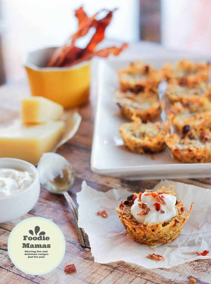 Shredded Tater Cupcakes with Gruyere & Bacon from Ali at Home and Plate #FoodieMamas