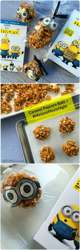 This easy and simple Caramel Popcorn Balls recipe has only 4 ingredients, including homemade Dutch Oven Popcorn! Check out my tutorial down below on illustrating the treat bags for the Caramel Popcorn Balls like the Minions movie characters! Enjoy these Caramel Popcorn Balls during your #MinionsMovieNight! #MinionsMovieNight #ad #CollectiveBias