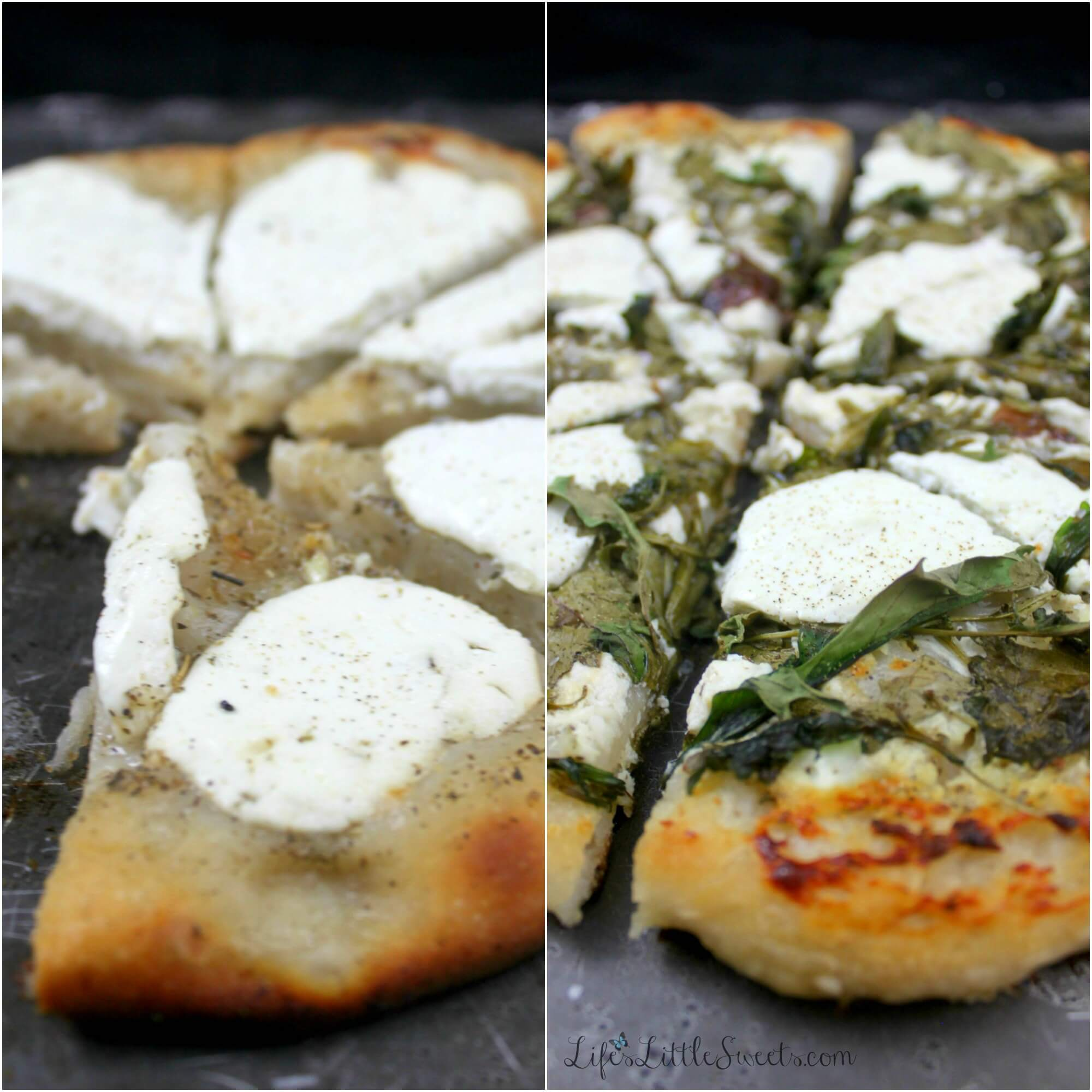 This 5-ingredient White Pizza uses Chobani® Non-Fat Plain Greek Yogurt, instead of cheese, it's easy to make and will be your new favorite way to make a white pizza! #HolidayWithChobani #CollectiveBias #ad