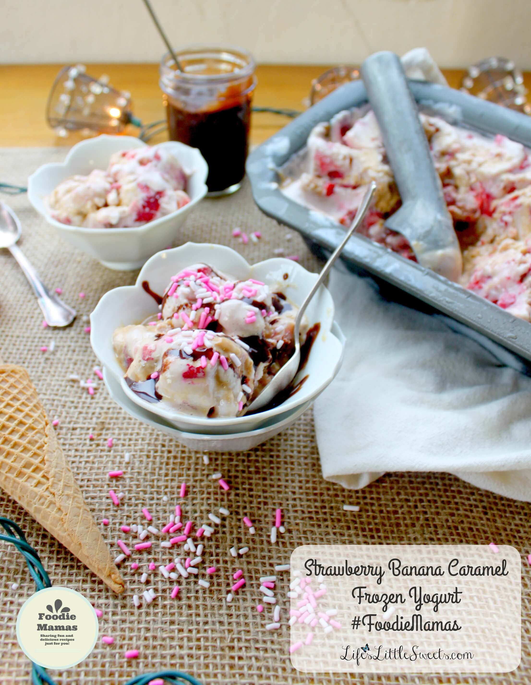 Strawberry Banana Caramel Frozen Yogurt has only 4 ingredients, uses a base of frozen bananas & strawberry Greek yogurt with fresh diced strawberries and a ribbon of my Easy Caramel (Dulce de Leche) recipe and here's a bonus: it does not require the use of an ice cream maker! #FoodieMamas #frozenyogurt #lifeslittlesweets #strawberries #strawberry