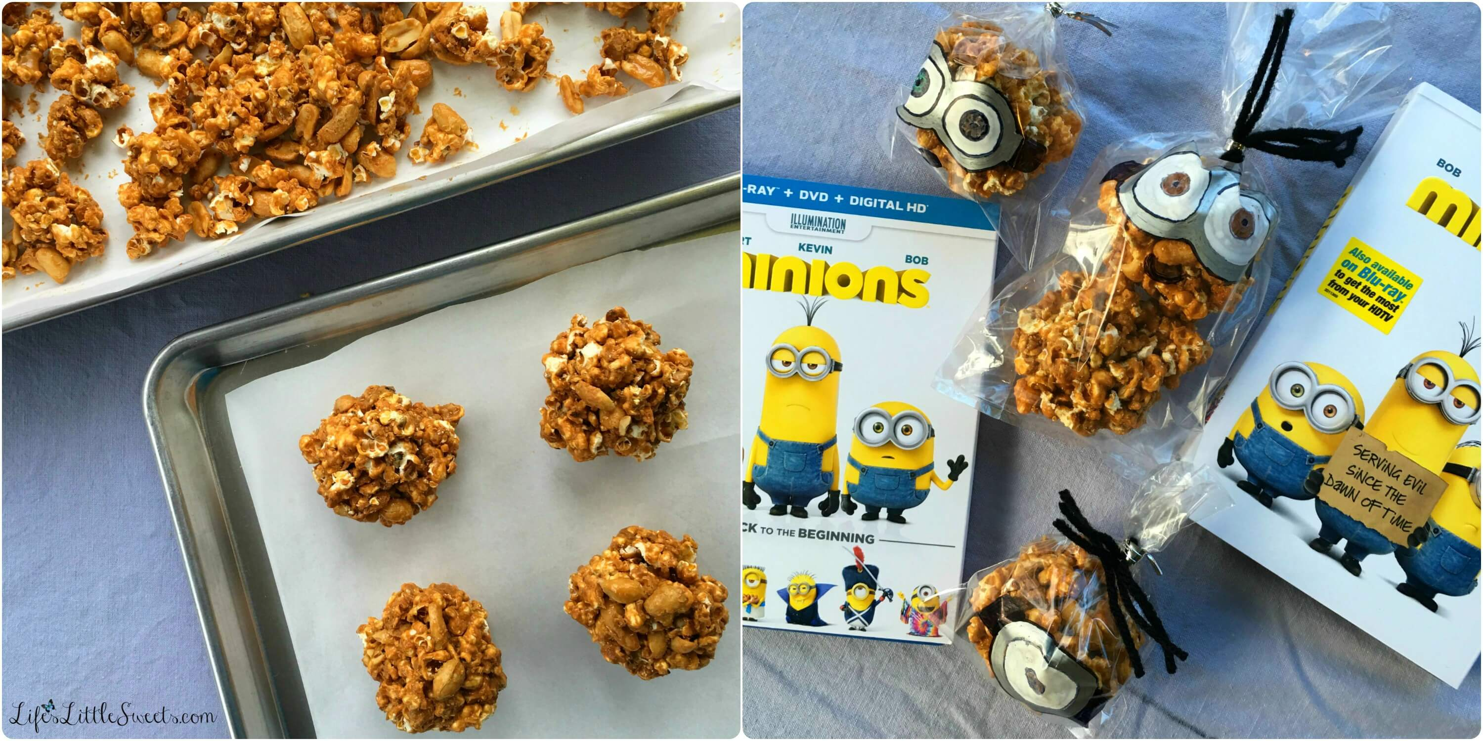 "This easy and simple Caramel Popcorn Balls recipe has only 4 ingredients including homemade Dutch Oven Popcorn! Check out my full tutorial on illustrating the treat bags for the Caramel Popcorn Balls just like the Minions movie characters ""Stuart,"" ""Kevin"" and ""Bob"" within this post! Enjoy these Caramel Popcorn Balls during your #MinionsMovieNight! #MinionsMovieNight #ad #CollectiveBias"