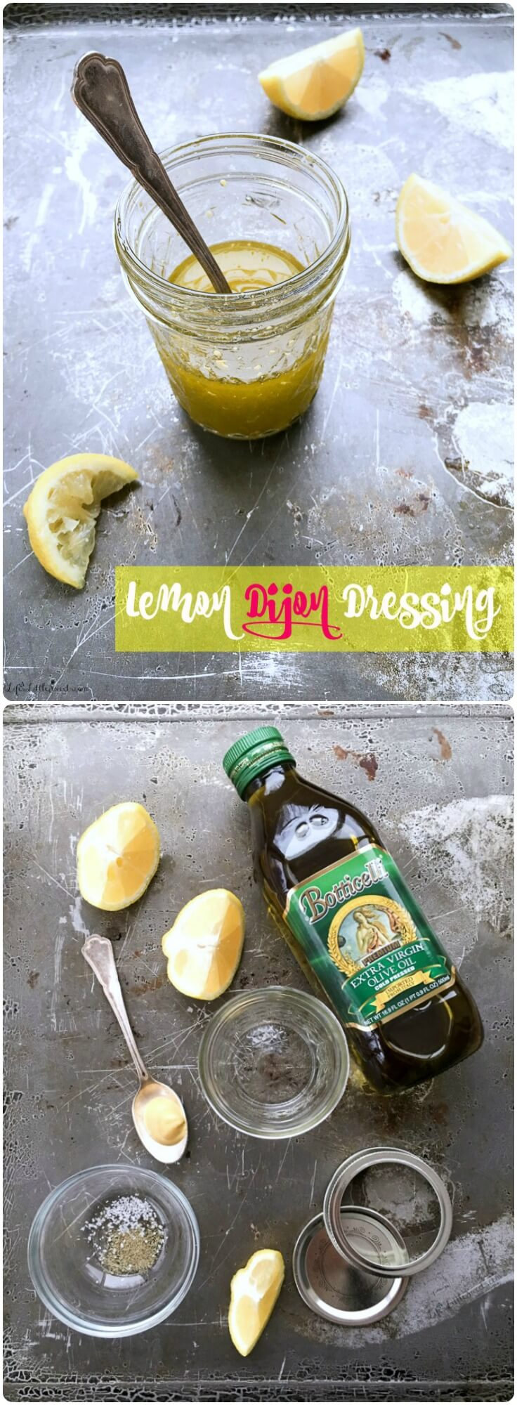 Lemon Dijon Dressing is easy as 1-2-3! Make this simple, 5-ingredient, mason jar salad dressing or marinade and you will think twice (or not at all!) about store-bought salad dressing again!