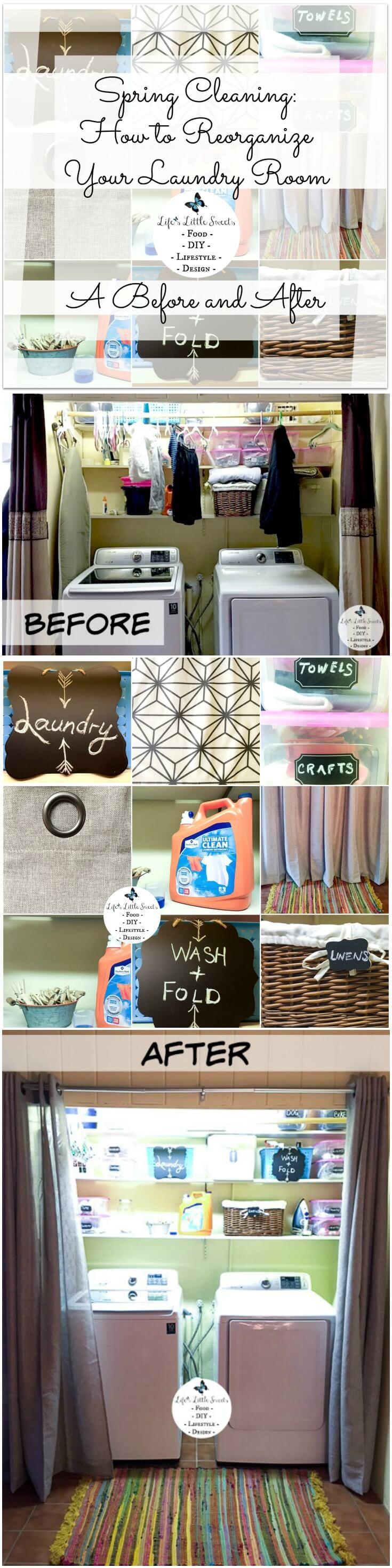 Spring Cleaning: How to Reorganize Your Laundry Room - A Before and After-Have you done your Spring cleaning yet? March 20th is the first day of Spring and with it, we will cast away the winter woes of colds, lethargy and dark skies. Spring cleaning is a pro-active way of changing your environment in a positive way. Here are 3 easy steps on exactly how to do that and 6 ways of styling with a case study: my laundry closet! #ad #TryMembersMark #CollectiveBias