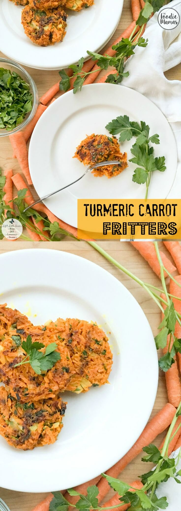Turmeric Carrot Fritters (V + GF) are a healthier, gluten-free addition to any brunch, lunch or dinner. Tender fritters packed with vitamin-rich carrots, anti-inflammatory turmeric, ground flaxseed and Italian parsley these complimentary flavors are both healthy and delicious! Check out #FoodieMamas 8 mouthwatering carrot recipes!