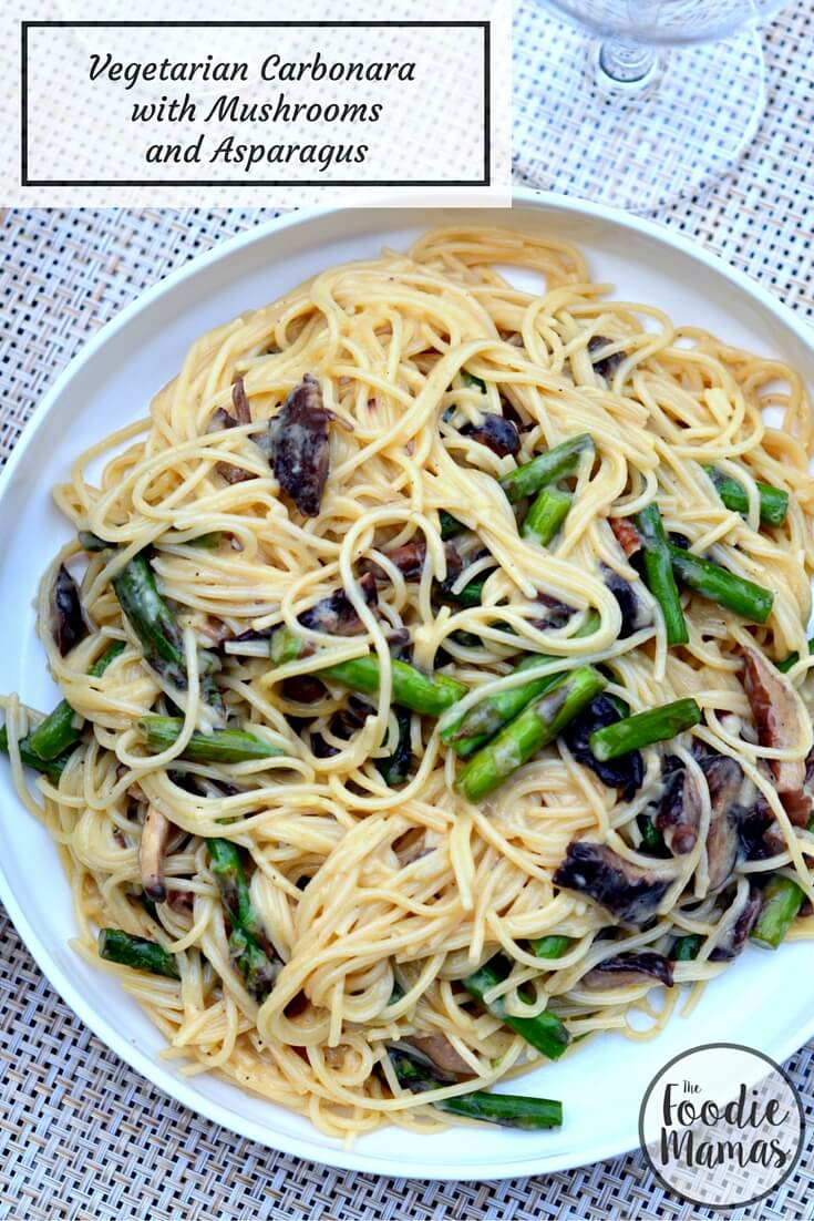 Vegetarian Carbonara with Mushrooms and Asparagus - www.cookingcurries.com