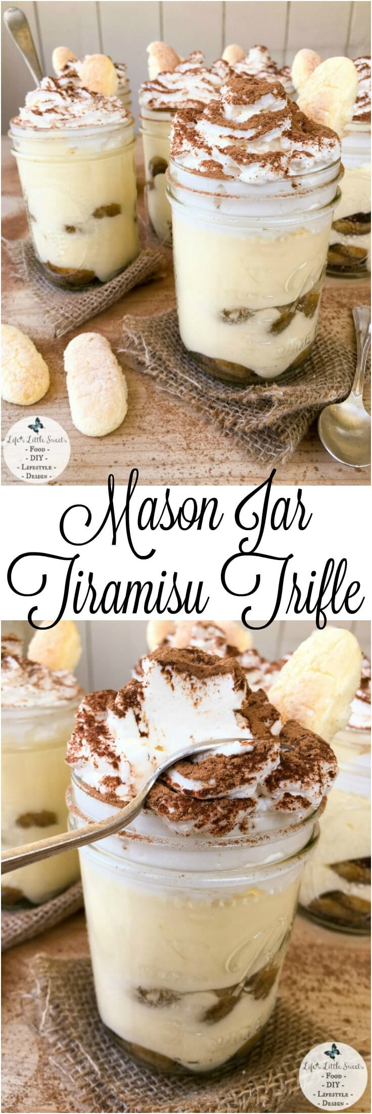 This Mason Jar Tiramisu Trifle is a new take the classic tiramisu dessert. There is plenty to go around as this recipe makes 6 pint-sized mason jars filled with delicious tiramisu dessert, yet only requires 10 ingredients. With 2 layers of delicious, espresso-soaked ladyfingers, rich tiramisu cream and lofty whipped cream dusted with cocoa, Mason Jar Tiramisu Trifle is going to be your new most-requested family favorite! #tiramisu #trifle #cocoa #ladyfingers #chocolate #coffee #dessert