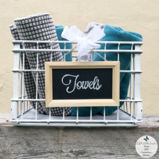 This DIY Industrial Bath Towel Crate with Chalkboard Sign is easily made with a few materials and it brings both industrial and handmade vibe to your home or bathroom with a customized hand-lettered chalkboard! Check out my review of Shout® Trigger Triple-Acting Stain Remover which is a tool that I used to help me with laundry stains! #ad #ShoutSolutions #CollectiveBias
