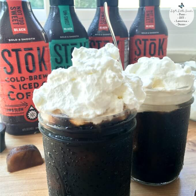 Close Up of Whipped Cream Cold-Brew Iced Coffee has cold-brew iced coffee ice cubes with lofty homemade Vanilla Whipped Cream. Enjoy SToK™ Cold-Brew Iced Coffee unsweetened, vanilla, mocha or not too sweet. I share my recipe and tutorial. See what my husband Eric's new passion project is and how his creativity inspires me :) #ad #SToKCoffee #cbias #CollectiveBias
