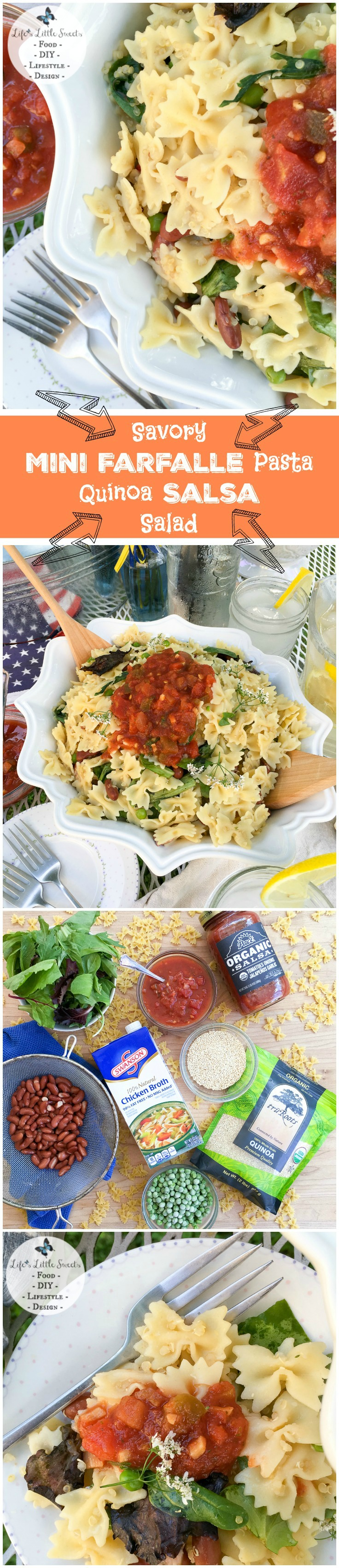 This Savory Mini Farfalle Pasta Quinoa Salsa Salad can be served warm or chilled and is great for bringing to a Summer BBQ, Potluck or any gathering. You can find all your ingredients like Swanson Chicken Broth, truRoots Organic Quinoa and Pace Medium Organic Salsa easily at Sam's Club. It uses only 1 pot for easy cleanup and a chicken broth reduction method to ensure that you get delicious, savory flavor in every bite! #BlockPartyHero #CollectiveBias #ad