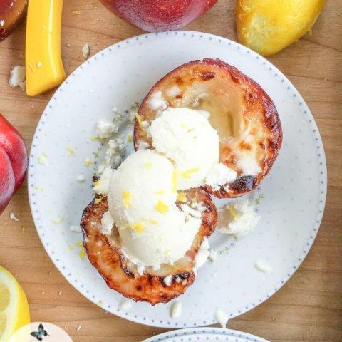 Broiled White Nectarines with Vanilla Whipped Cream #FoodieMamas