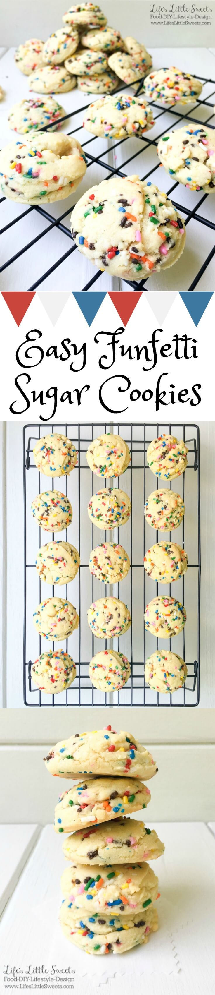 These Easy Funfetti Sugar Cookies are chewy, fluffy and sprinkled with color throughout. With only 9 simple pantry ingredients, you can enjoy these festive cookies in less than 30 minutes!