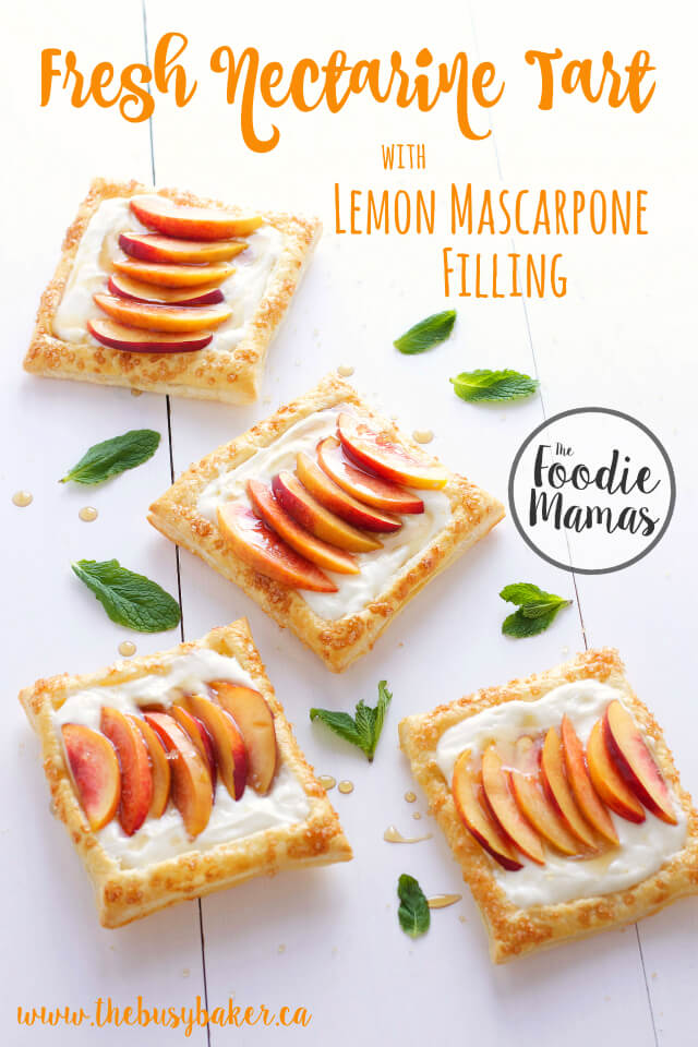 Fresh Nectarine Tart with Lemon Mascarpone Filling from Chrissie Baker | The Busy Baker #foodiemamas
