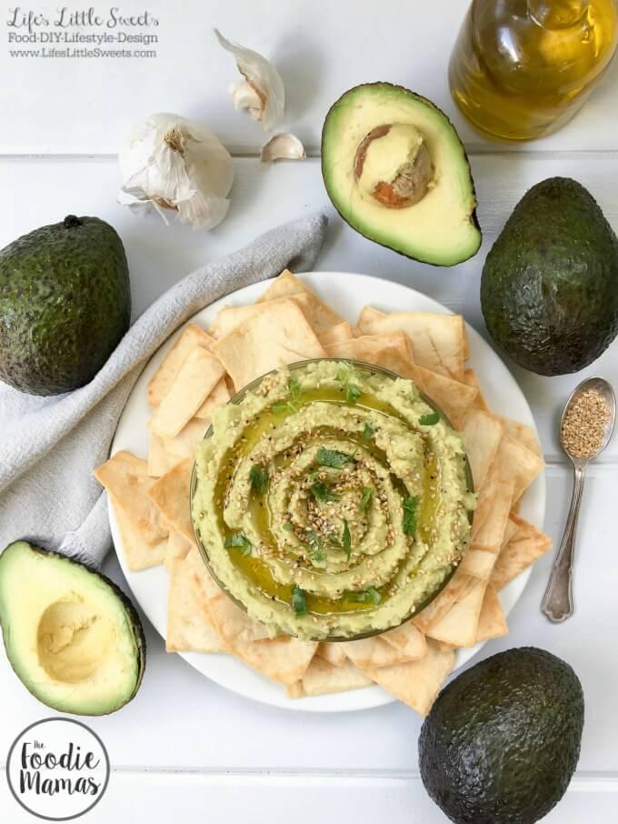 Avocado Hummus www.LifesLittleSweets.com garlic chickpeas avocados sesame seeds pita chips 680x906 overhead