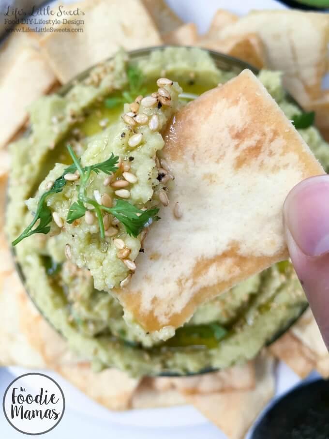 Avocado Hummus www.LifesLittleSweets.com garlic chickpeas avocados sesame seeds pita chips 680x907 bite