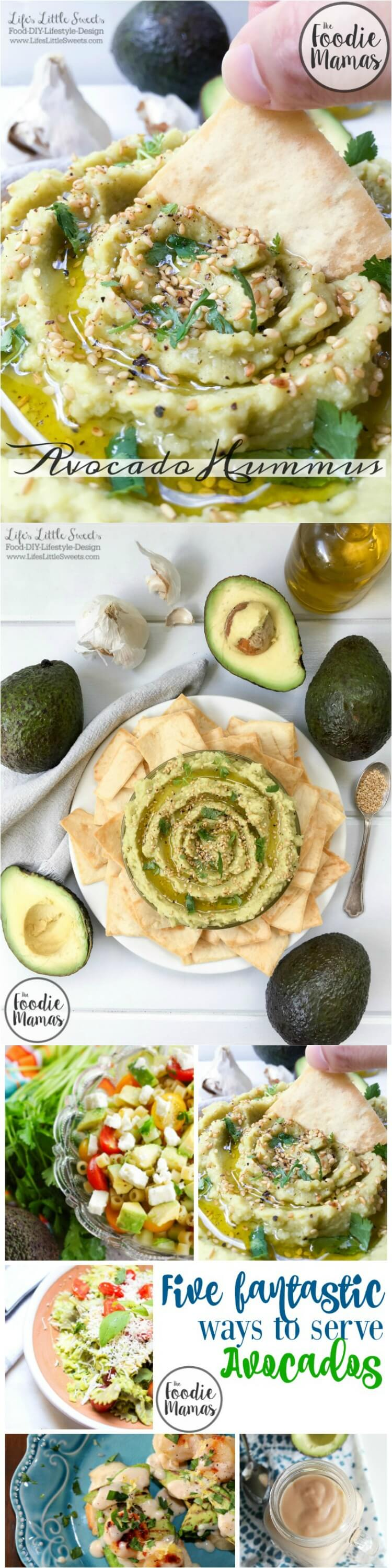 With 7 ingredients or less, this Avocado Hummus recipe is easy to whip up in minutes. Topped with sesame seeds and fresh cilantro, let this be your new favorite appetizer or party snack! Check out the entire #FoodieMamas recipe round up featuring avocados.