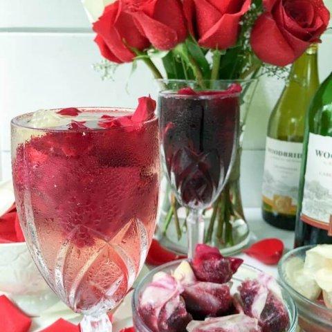 Cabernet Sauvignon and Chardonnay Rose Petal Wine Ice Cubes