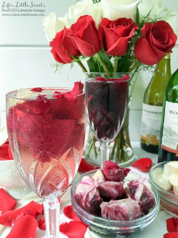 (Msg 4 21+) These Cabernet Sauvignon and Chardonnay Rose Petal Wine Ice Cubes are a pretty and romantic way to serve wine. Impress your guests or that special someone with this easy 2 ingredient recipe! #ad #VinoBlockParty #CollectiveBias