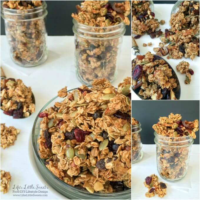 "This Homemade Autumn Harvest Fruit and Nut Granola has cinnamon and warm vanilla, crunchy pumpkin seeds, tart cranberries and is naturally sweetened with maple syrup & honey. It has the option to leave out the oil or butter and a flaxseed ""egg"" adding to its health benefits. Check out my tips for customizing this Homemade Autumn Harvest Fruit and Nut Granola for your tastes and preferences!"