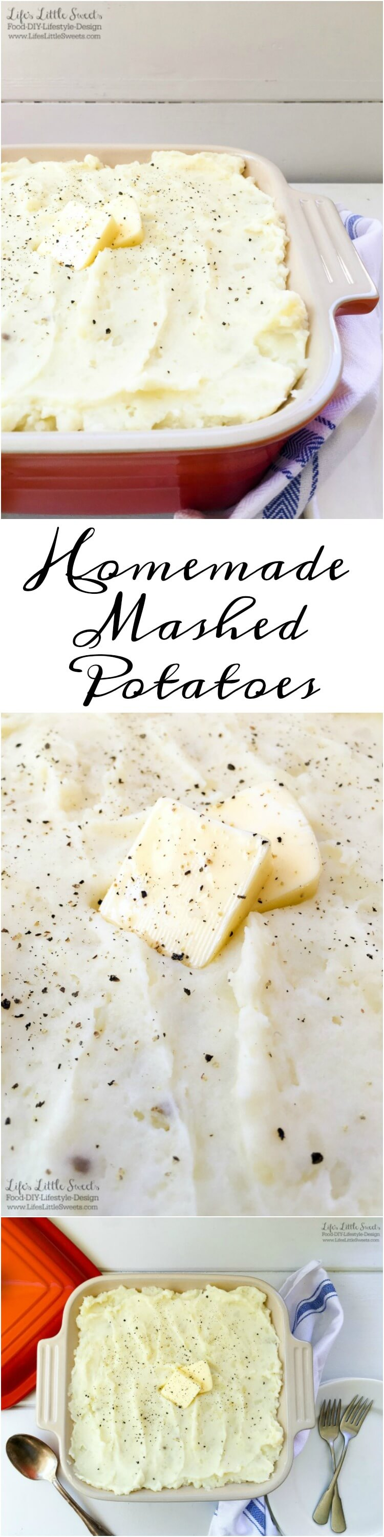 This Homemade Mashed Potatoes recipe uses a 5-pound bag of white potatoes, milk, butter salt and pepper. With only 5-ingredients, they are so simple to make and a classic, savory, side dish to a holiday dinner or any meal.