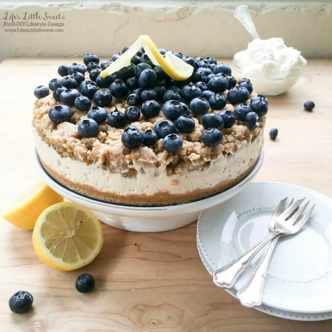 This No Bake Blueberry Lemon Crumble Cheesecake is delicious, zesty and filled with fresh blueberries! Top it off with some Vanilla Whipped Cream!