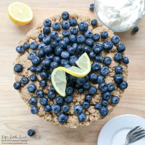 No Bake Blueberry Lemon Crumble Cheesecake