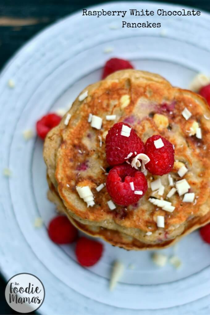 Raspberry White Chocolate Pancakes - Manju Mahadevan | Cooking Curries #FoodieMamas