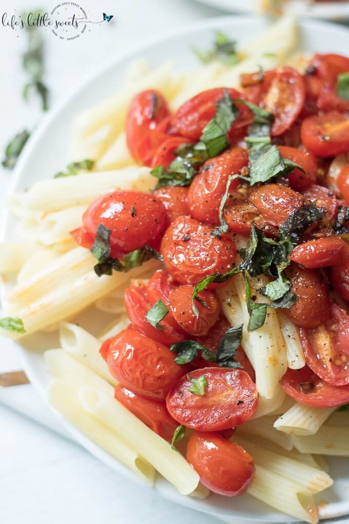 Pan-Fried Tomatoes are a tasty side dish to go with dinner, you can have them over a salad or with crackers and cheese for an appetizer. #friedtomatoes #tomatoes #grapetomatoes #cherrytomatoes #basil #pasta #vegan #glutenfree #oliveoil