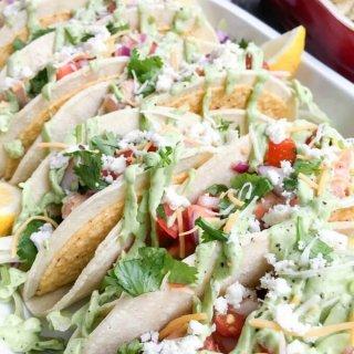 Salmon Tacos with Fresh Salsa and Avocado Sauce