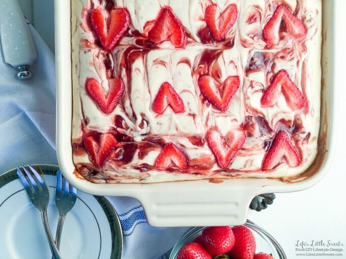 ? This Brownie Bottom Marbled Strawberry Cheesecake is so fruity, chocolate-y and full of cheesecake goodness. This is a one-pan dessert that is perfect to bring to the Thanksgiving dessert table because it feeds a crowd with 12 servings. I use Smucker's Fruit & Honey Strawberry Fruit Spread in the marbled cheesecake layer with yummy results! #ad #EasyHolidayEats #CollectiveBias @Smuckers @Walmart
