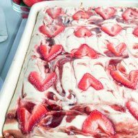 Brownie Bottom Marbled Strawberry Cheesecake