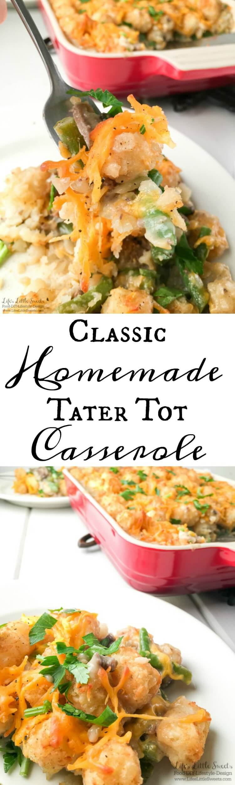This Classic Homemade Tater Tot Casserole is made from scratch without the use of canned soup. It's creamy, comforting and a delicious, one-dish dinner, sure to be a family favorite!