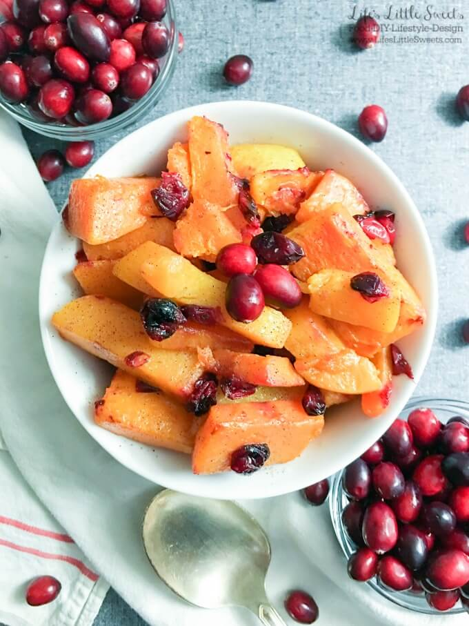 Cranberry Maple Roasted Butternut Squash is a sweet and savory side to better your Holiday dinner table goals. Serve up this festive, easy-to-make, roasted dish this holiday season! (dairy-free, vegan) #ad #Walmart #TameTummyTrouble #GetReliefFromTheFeast #FeelBetterFromTopToBottom