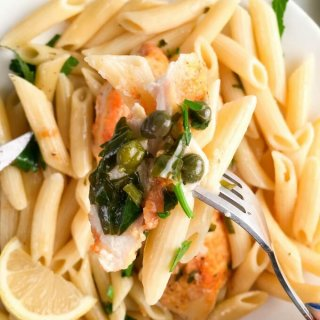Lemon Chicken Piccata Penne Pasta