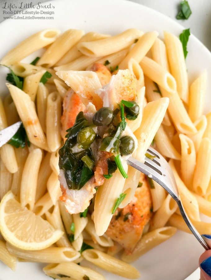 🍋 Lemon Chicken Piccata Penne Pasta - Lemon, capers, chicken, Penne pasta, butter - perfection has been reached! This Lemon Chicken Piccata Penne Pasta is a solid dinner recipe right here. Make it now, your taste buds will thank me. (with dairy-free option, 4-6 servings) #ad #FamilyPastaTime @BarillaUS @Target #CollectiveBias