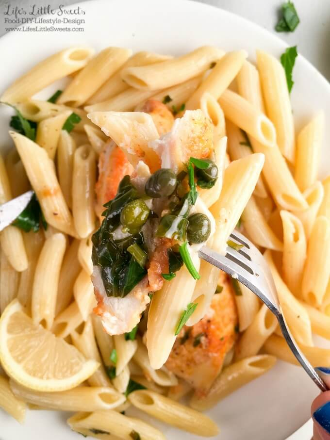 ? Lemon Chicken Piccata Penne Pasta - Lemon, capers, chicken, Penne pasta, butter - perfection has been reached! This Lemon Chicken Piccata Penne Pasta is a solid dinner recipe right here. Make it now, your taste buds will thank me. (with dairy-free option, 4-6 servings) #ad #FamilyPastaTime @BarillaUS @Target #CollectiveBias