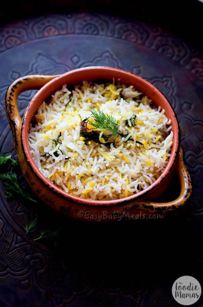 Lemon And Dill Rice Pilaf | Deepika Haldankar of EasyBabyMeals - 14 Incredible Holiday Side Dish Recipes #FoodieMamas